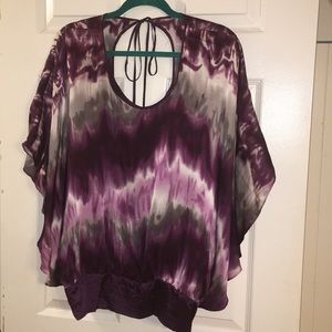 Kenar deep purple tide-died silk blouse. Large